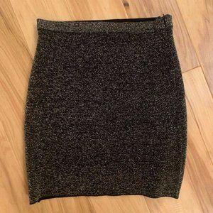 Zara Bodycon Silver Sparkle Mini Skirt Size S